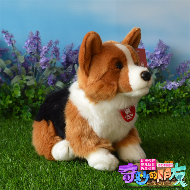 cute Welsh Corgi dog toy high quality colourful sitting dog doll about 30cm