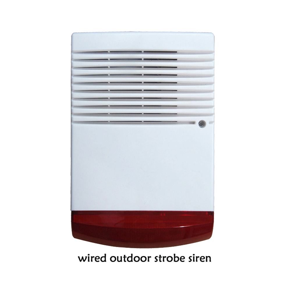 (1 PCS) Wired Outdoor siren with Flash Lamp water proof buzzer use for alarm system warning louder speaker Strobe Siren 1 pcs 9 16vdc indoor wired siren with flash lamp security alarm accessories buzzer strobe siren anti theft free shipping