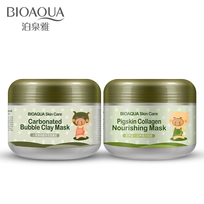 Bioaqua Pig Pigskin Collagen Nourishing Mask /Black Pig Carbonated Bubble Clay Mask Winter Deep Cleaning Moisturizing Skin Care