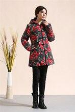 Китайский стиль Зимнее Пальто Женщин Вниз Куртки Длинный Хлопок-Проложенный Одежды с капюшоном Пальто Парки Повседневная Куртка Ватная
