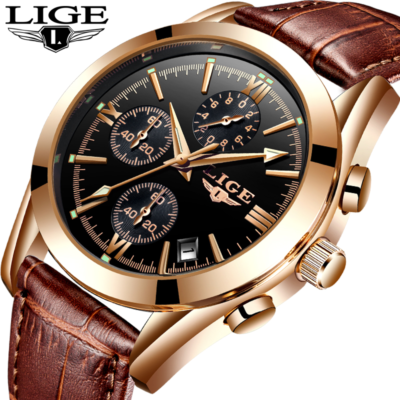 <font><b>LIGE</b></font> Watch Men Sport Quartz Fashion Leather Clock Mens Watches Top Brand Luxury Waterproof Business Watch Relogio Masculino image