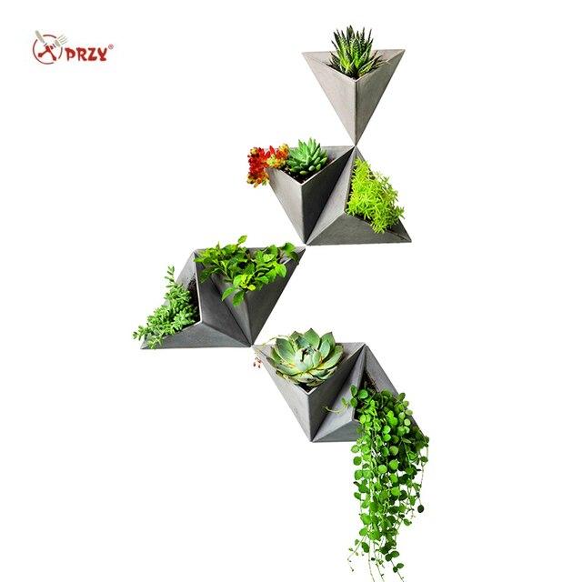Triângulo forma de parede pendurado cimento flowerpot silicone molde de silicone pote de concreto moldes para decorações de casa s9035
