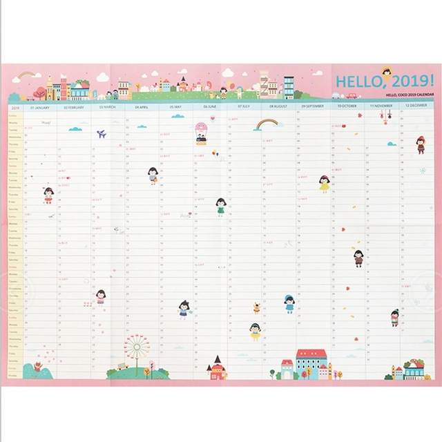 2019 365days Paper Wall Calendar Daily Planner Notes Study New Year