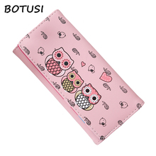 BOTUSI Women Wallets Cute Owl Lady Coin Purse Long Short Style Money Bags Clutch Woman Wallet Cards ID Holder Purses Bag women lady coin purses retro vintage owl small wallet hasp purse clutch bag key card holder bags dropshipping wholesale lp
