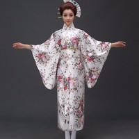 New Arrival Japanese Traditioinal Satin Kimono Classic Yukata With Obi Sexy Vintage Women's Prom Dress Floral One Size