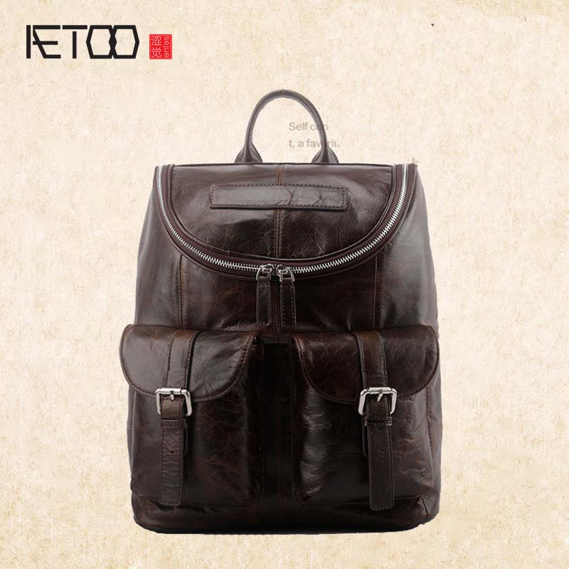 AETOO New trend leather men bag street fashion large capacity first layer oil wax leather shoulder bag aetoo shoulder bag leather men bag trend first layer of leather large capacity new of the backpack bag