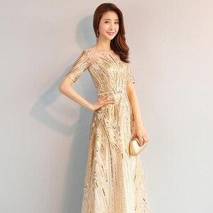 Image 3 - DongCMY ארוך פורמליות מקסי נצנצים ערב שמלות 2020 זהב צבע רוכסן אופנה נשים המפלגה ביצועי שמלה