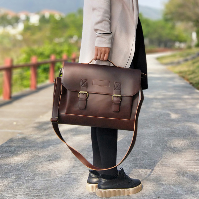 Retro Brand Design Women Bag Horizontal Literary Handbag Multifunction Shoulder Bag Dress OL Fashion Business Briefcase