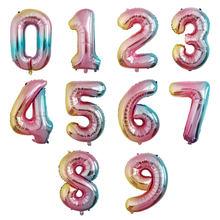Novo 32 Polegada números balões ballon arco-íris balão decorações de festa de aniversário de casamento adulto crianças 0 - 9 globos de ar digital