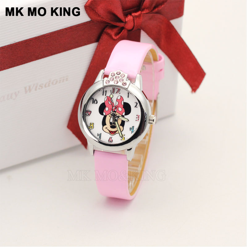 Luxury Kittyed Mouse Children Watch Cute Cartoon Beauty Kids Watches Leather Belt Quartz Wristwatches Baby Gift Child Hour Clock