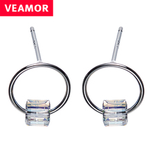 VEAMOR 925 Sterling Silver Cube Austrian Crystal Circle Stud Earrings For Women Geometric Round Fashion Jewelry boucle d'oreille