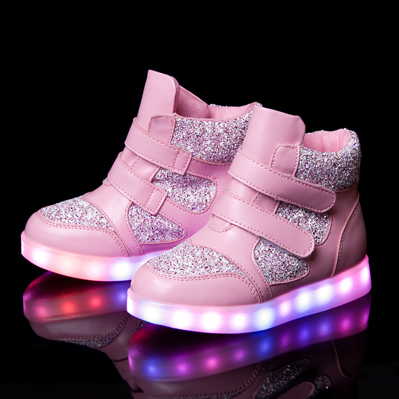 Eur 26-37// Glowing Luminous Sneakers Led Slippers Kids Light Up Shoes Tenis Shoes Krasovki Illuminated Sneakers Warm Shoes new led glowing sneakers kids shoes 7 colors usb charge luminous sole with cute wings sneakers light up children shoes