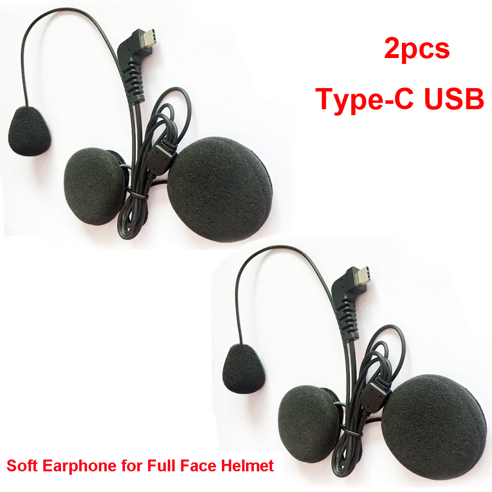 2019 New 2pcs Type-C USB Soft Earphone Earpiece & MIC For BT-S2 BT-S3 Motorcycle Bluetooth Intercom For Full Face Helmets