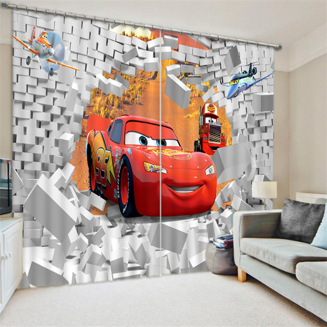Modern Luxury red car 3D Blackout Window Curtains For kids Bedding room Living room Hotel Drapes Cortinas