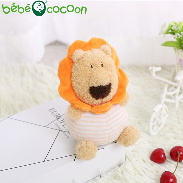 bebecocoon 2017 New Baby Rattle Stuffed Toys Infant Hand Puppet Enlightenment Lion Animal Plush Doll Design Gifts Set