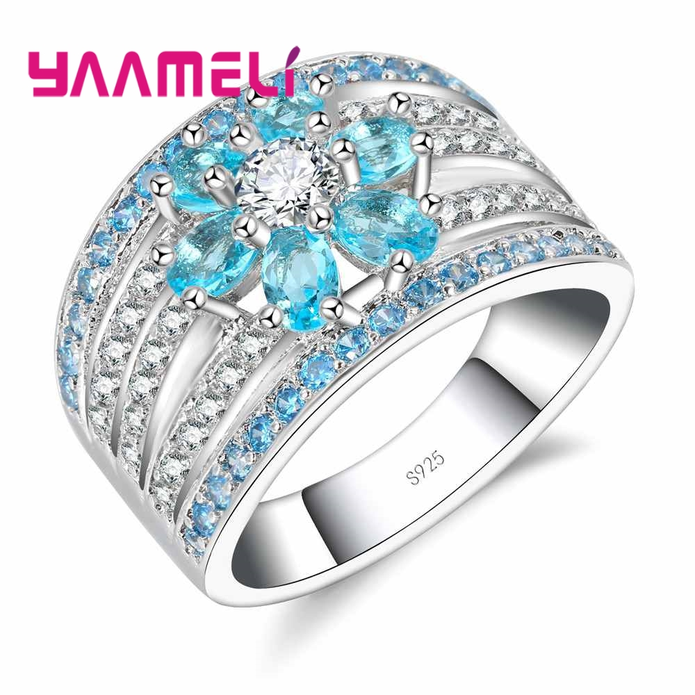 YAAMELI Promotional Sales! Wedding Rings 925 Sterling Silver CZ Flower Blue Crystal Finger Accessories Jewelry for Ladies