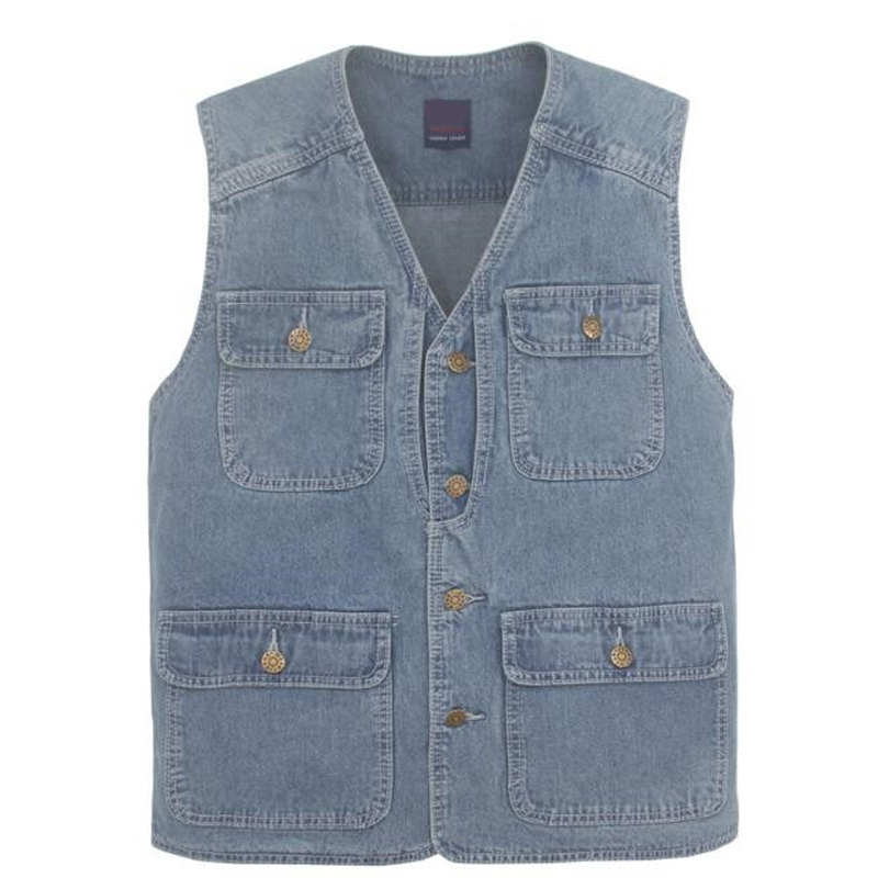 Latest waistcoat designs for men jeans denim vests male with many pockets fashion vest men sleeveless jacket