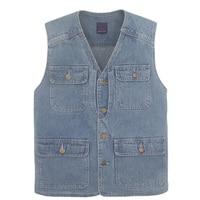 Latest waistcoat designs for men jeans denim vests male with many pockets fashion vest men sleeveless jacket
