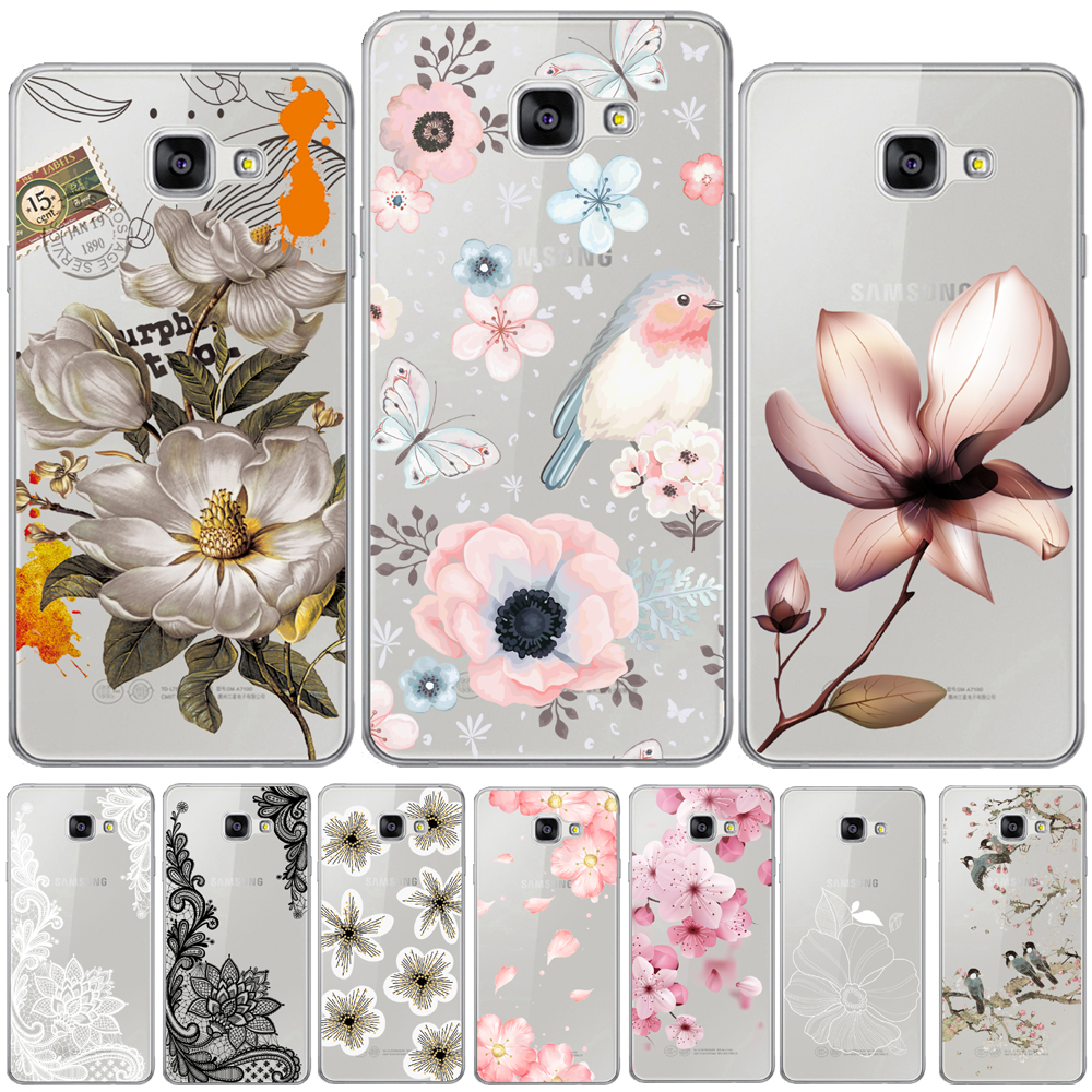 <font><b>Flower</b></font> Rose Soft TPU Cover For <font><b>Samsung</b></font> <font><b>Galaxy</b></font> A3 A5 A7 2016 2017 A6 A8 Plus A7 A9 2018 A10 A20 A30 A50 <font><b>A70</b></font> Floral Leaves <font><b>Case</b></font> image