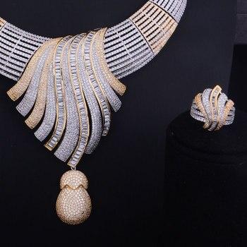 GODKI Luxury Feather Lariat Flower Women Wedding Cubic Zirconia Choker Necklace Earring Dubai Jewelry Set Jewellery Addict 3