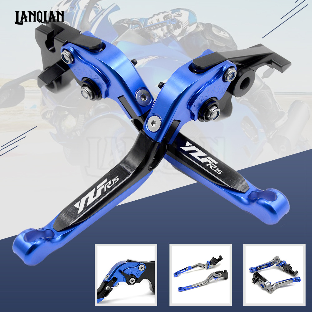 High Quality CNC Motorcycle Accessories Adjustable Folding Brake Clutch Lever For YAMAHA YZF R15 2008-2014 With YZFR15 LOGO keoghs real adelin 260mm floating brake disc high quality for yamaha scooter cygnus modify