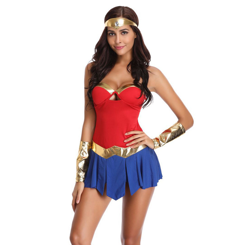 6563a9709d8 Sexy Wonder Woman Costumes Adult Women Fancy Dress Diana Princess DC Comic  Superhero Cosplay Cartoon Halloween Carnival Clothes