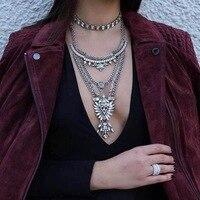 2017 מותג יוקרה אופנה החדשה Vintage הבוהמי קריסטל לולאות תליון Chocker קסם נשים שרשרת שמירה על תכשיטי Boho מקסי