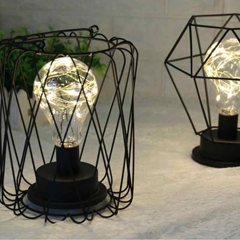 Креативный Ретро стиль настольная лампа медная проволока фонарь Воронка Алмазная модельная прикроватная лампа домашний декор для стола дом