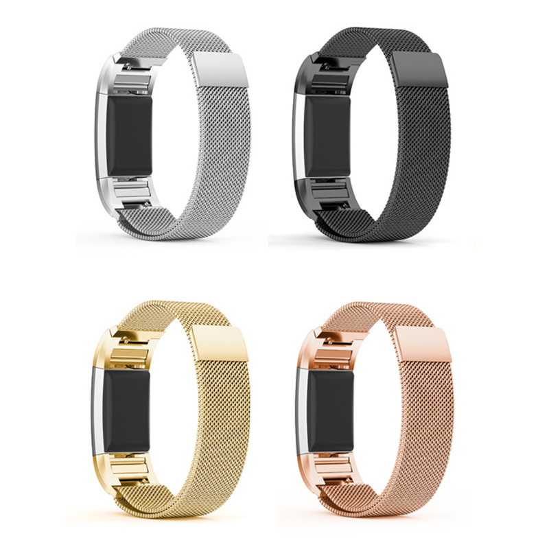 Magnetic Milanese Loop Band For Fitbit charge 2 smart bracelet high quality stainless steel strap for charge2