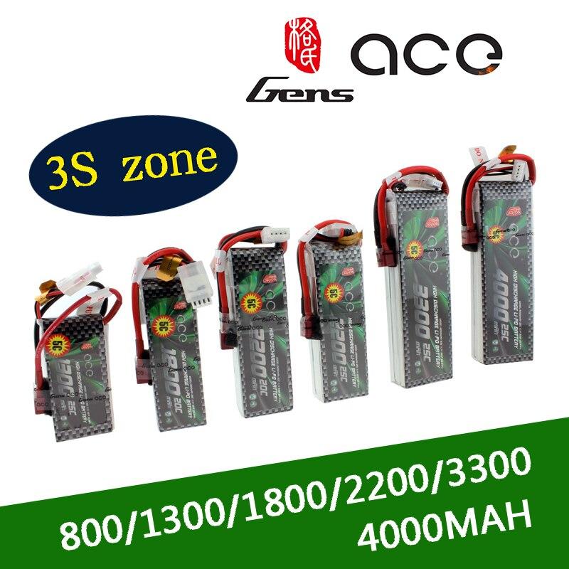Gens ACE 2S Lipo 3S 7.4V Batteria 11.1V 800mAh 1300mAh 1800mAh 2200mAh 3300mAh 4000mAh 5300mAh con T/XT60 Spina