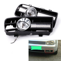 2Pcs H3 Fog Lights Grilles With LED DRL Lamp For 1997 2006 VW Golf GTi TDI