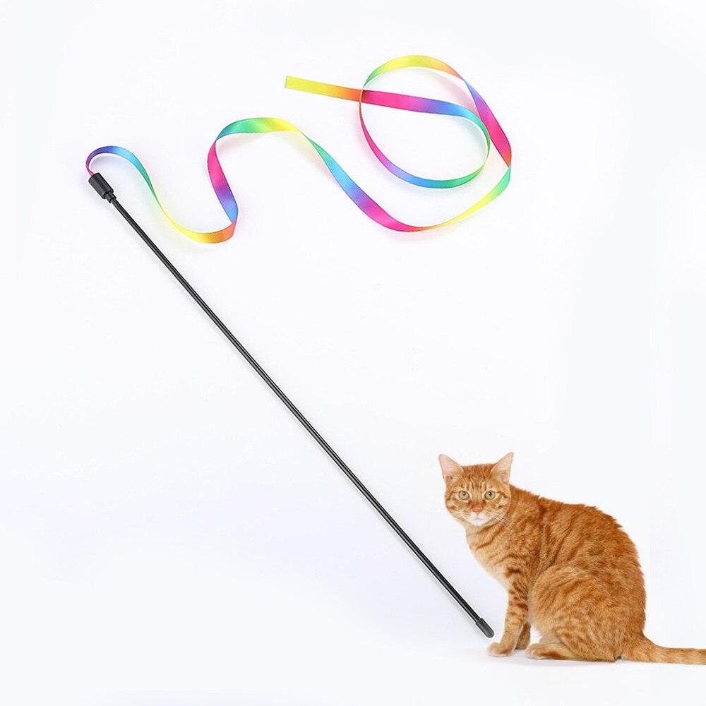 Heerlijk 2019 Nieuwe Kitten Kat Huisdier Speelgoed Chaser Stick Regenboog Streamers Interactieve Speel Speelgoed Plastic Streamer Grappige Kat Pole