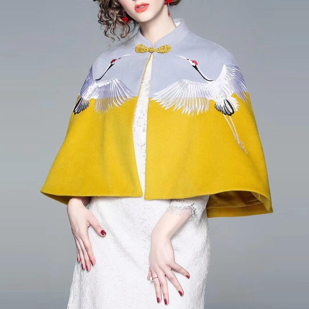 Femelle Style Grues Hiver Nouvelles De Mode Chinois Broderie Mandarin Cape 2018 Lâche Manteaux Femmes Col Châle YwvwO