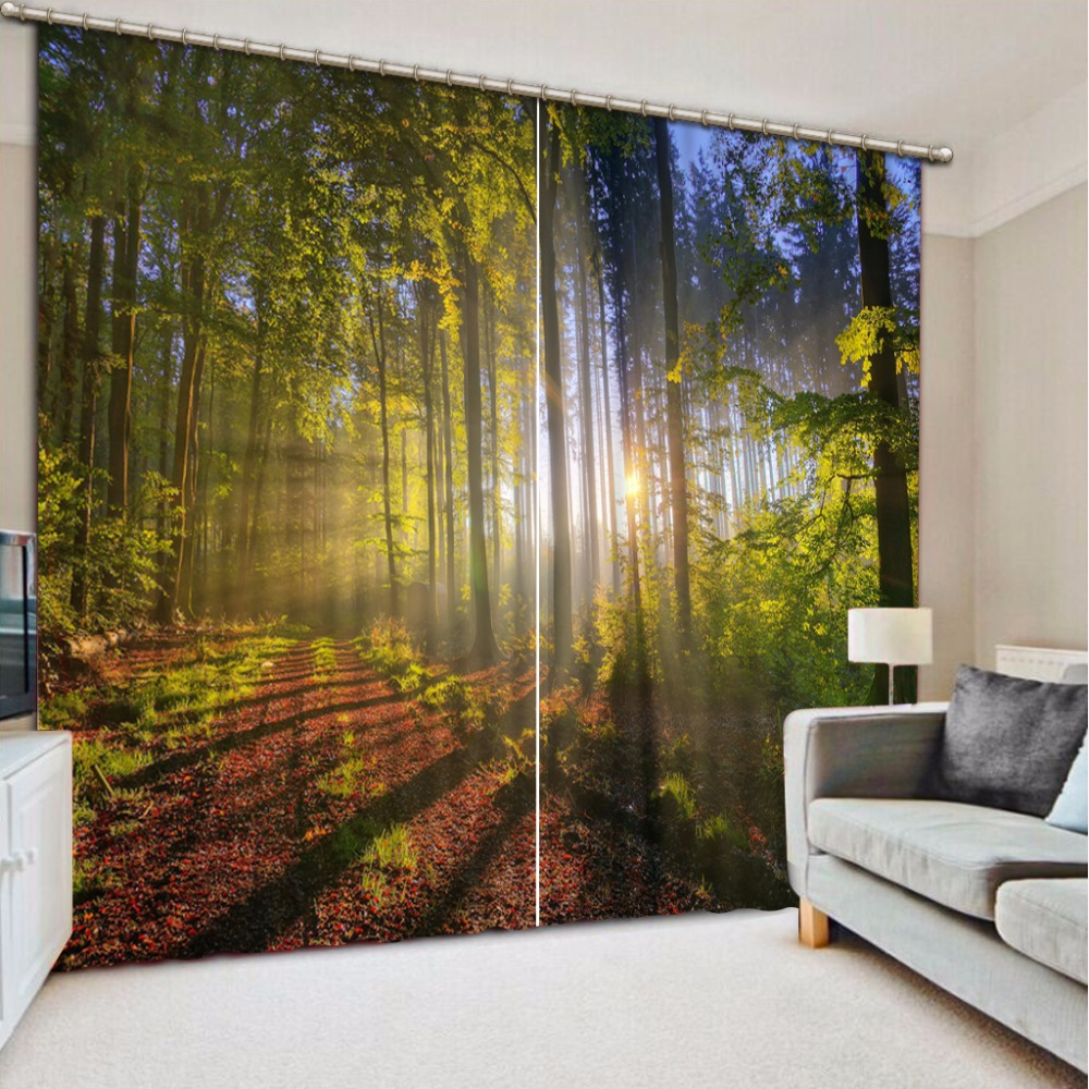 3D Curtain Custom Any Size Blackout Shade Window Curtains Sunny Forest Bed Room Living Room Office Hotel Cortinas