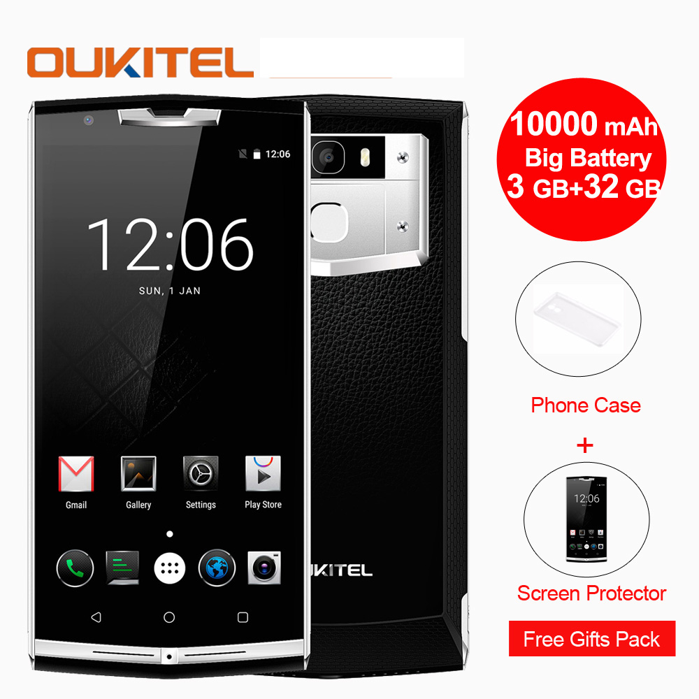 "Oukitel k10000 Pro Mobile Phone Android 7.0 10000mAh 12V 2V 5.5"" MTK6750 Qcta Core 3GB+32GB 13MP Fingerprint 4G LTE Smartphone"