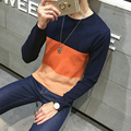2016 winter New Men's Sweaters Men Slim Round Neck Sweater Stitching Men Warm Sweaters Fashion plus size M-XXL hot sale