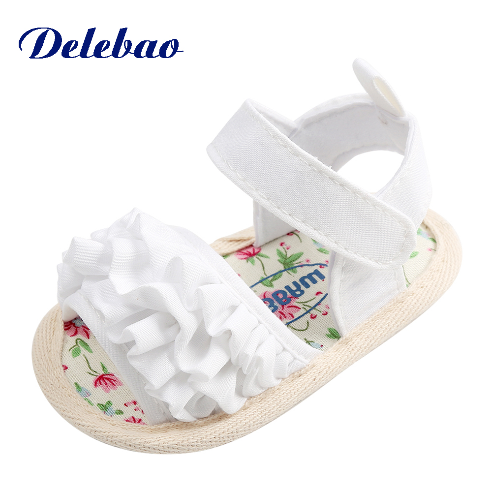 Delebao Pleated Flower Summer Lace Flower Baby Girl Sandals Cotton Soft Sole Hook & Loop Princess Baby Girl Shoes