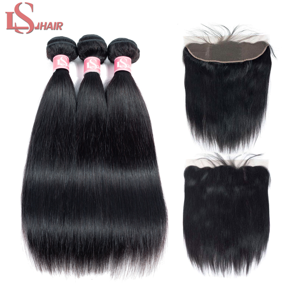 LS Hair 13x4 Lace Frontal Closure With Bundles Remy Brazilian Body Wave Human Hair Bundles With Frontal Closure Free Shipping