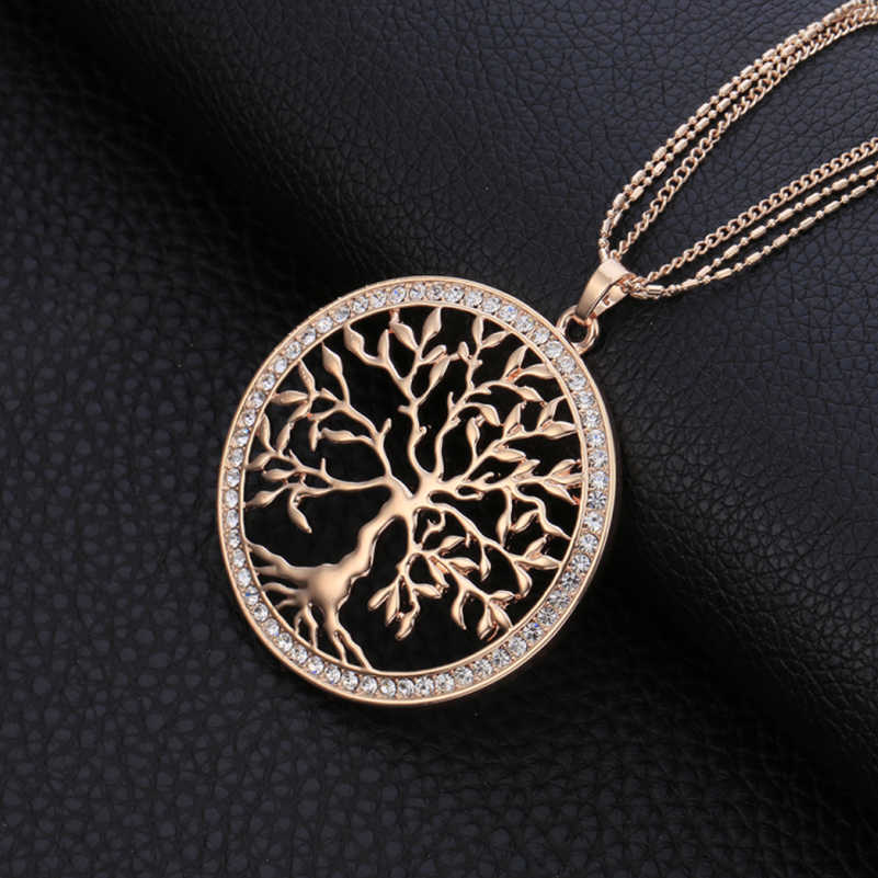 £3.99 Rose Gold Tree of Life Crystal Pendant Birthday Valentines Mothers Day Gif
