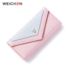 WEICHEN  New Geometric Envelope Clutch Wallet For Women, PU Leather Hasp Fashion Design Wallet For Phone Money Bags Coin Purse
