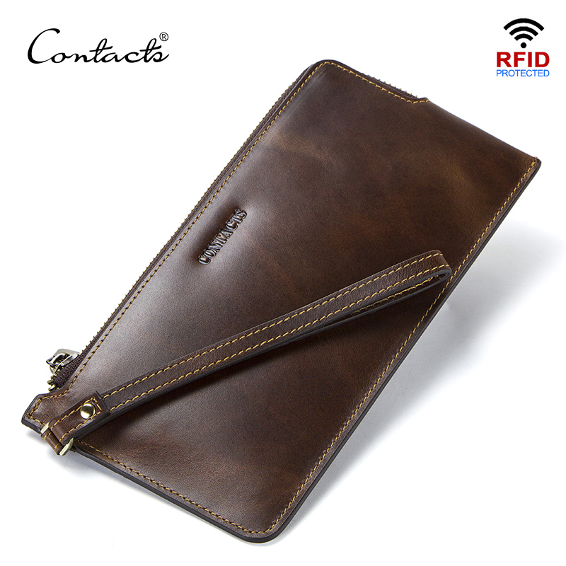CONTACT'S Men's Wallets Genuine Leather RFID Long Clutch Thin Walet Card Holder For Man Coin Purse Male Luxury Brand Slim Wallet