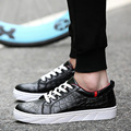 Black White Mens Low Top Shoes 2016 Fashion Men Casual Shoes Crocodile Pattern PU Leather Mens Trainers footwear X082638