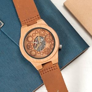 Image 4 - Часы мужские кварцевые с бамбуковым корпусом, светящимися стрелками