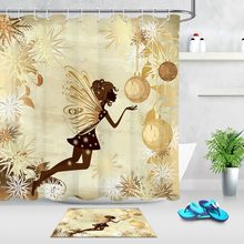 Shower Curtain African Butterfly Girl Gold Christmas Ball And Snowflake Bathroom Waterproof Polyester Fabric For