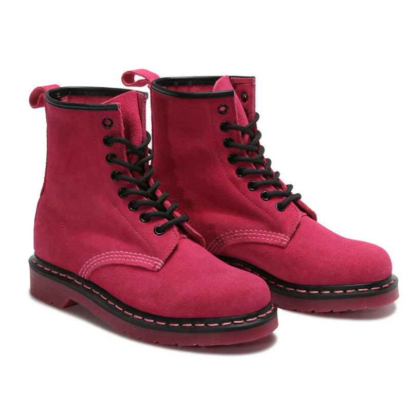 ФОТО Genuine leather Ankle Boots Shoes for Women Motorcycle Boots Rose Red Ladies Spring Fall Boots Shoes 2017 New Style