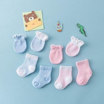 2 pairs Baby Cotton Socks Anti-Scratch Gloves baby boys girls Soft solid Socks infant Neonatal Comfortable Gloves Socks set