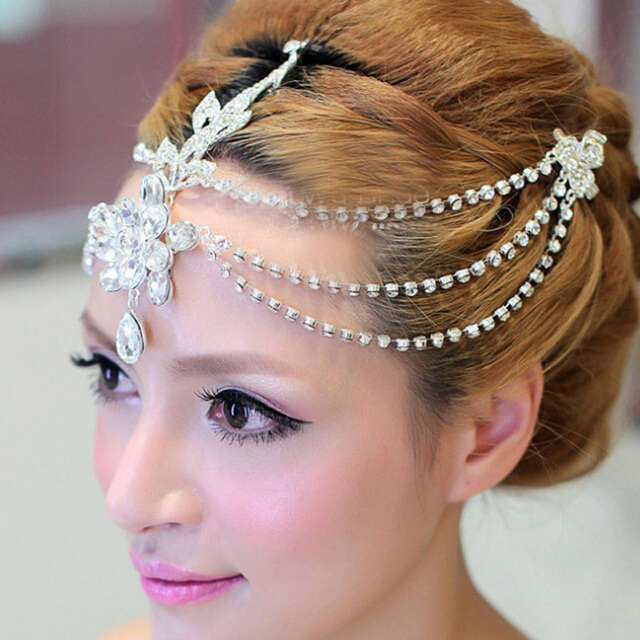Clear crystal dangle forehead headband tiara crown bridal pageant