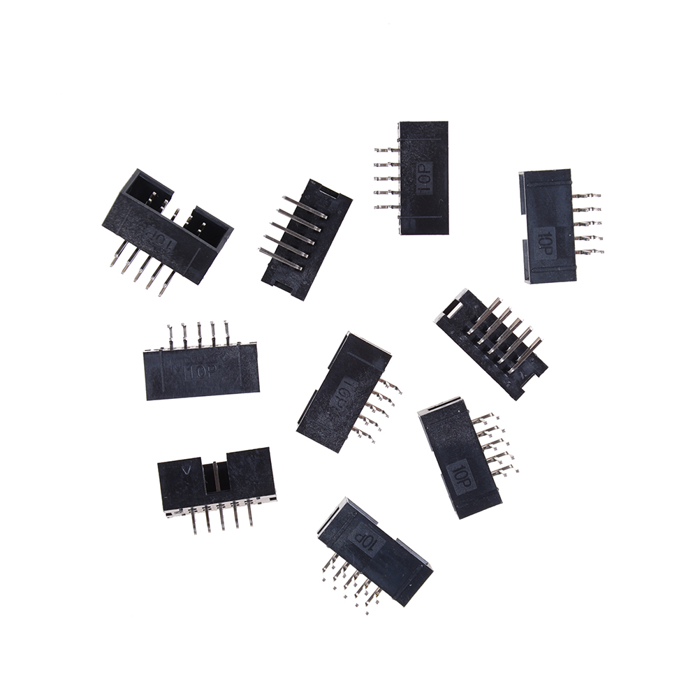 10pcs High Quality DC3 <font><b>10</b></font> <font><b>Pin</b></font> 2x5Pin Right <font><b>Angle</b></font> Double Row Pitch 2.54mm Double-spaced <font><b>Pin</b></font> Male IDC Socket Box <font><b>Header</b></font> Connector image