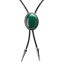 Oval Mint Green Bolo Tie Authentic Leather Natural Blackish Opal Silver Engraved Curve Retro Egg Necktie Jewelry Enamel