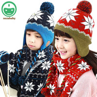 2015 Hot Children Winter Hat Baby Child Scarf Hat For Girls Boys Knited Hat Caps Children